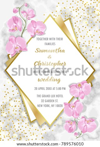 wedding glamorous invitation floral card gold stock vector royalty