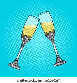 Wedding glasses of champagne pop art style vector illustration. Hand drawn comic book style imitation