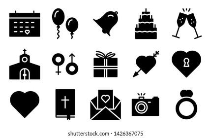 Wedding glyph icon symbol set