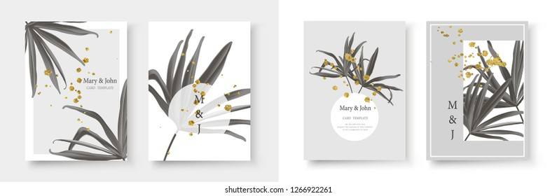 Wedding gold black white monochrome tropical invitation card save the date design with fan palm leaf and golden splatters. Botanical elegant decorative floral vector illustration template trendy style