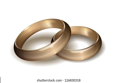 Wedding gold rings on white, EPS10 vector