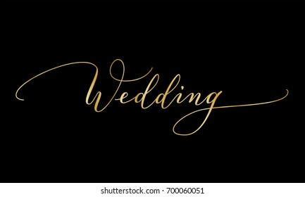 Wedding gold text, hand written custom calligraphy on black. Elegant ornate lettering with swirls and swashes. Great for wedding invitations design, cards, banners, photo overlays.