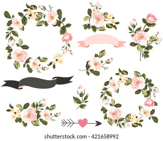 wedding graphic set with flowers ,floral wreath,banner,arrow,flower bouquet collection