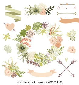 Wedding graphic set with succulents, wreath and glass terrariums