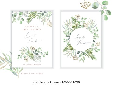 Wedding greenery cards, poster design. Green leaves, fern bouquet, frame, white background. Vector illustration. Romantic floral arrangements. Invitation template