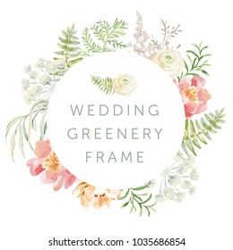Wedding greenery circle frame with flowers. Pink peony and green leaves. Vector illustration. Floral arrangements. Forest foliage. Fern. Design template greeting card. Invitation background.
