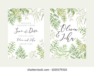 Wedding greenery frame Save the date. Green leaves. Vector illustration. Floral arrangements. Forest foliage. Fern. Design template greeting card. Invitation background.