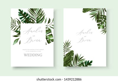 Wedding greenery tropical exotic floral invitation card save the date design with tropic monstera palm leaves herbs wreath and frame. Botanical elegant decorative vector template watercolor style