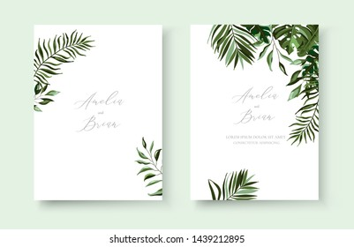 Wedding greenery tropical exotic floral minimalist invitation card save the date design with tropic monstera palm leaves herbs wreath and frame. Botanical decorative vector template watercolor style