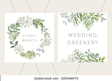 Wedding greenery wreath and frame. Green leaves. Vector illustration. Floral arrangements. Forest foliage. Fern. Design template greeting card. Invitation background.