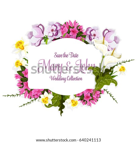 wedding greeting card of flowers and floral bouquet with bride and groom names template vector