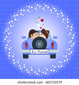 """Wedding greeting card """"Just Married!"""". The bride and groom kiss in the car. Vector."""