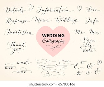 Wedding hand written custom calligraphy. Save the date, love, information, response, details, thank you, menu words. Ampersands and catchwords. Great for wedding invitations, cards, photo overlays.