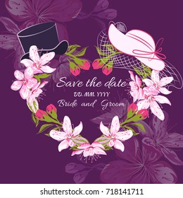 Wedding hats bride and groom on frame of Cherry blossom on a purple background