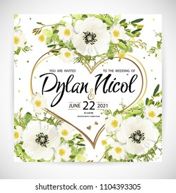 Wedding heart floral template invite, garden flower white poppy and rose, green leaves, gold decor. Trendy decorative layout. Vector illustration