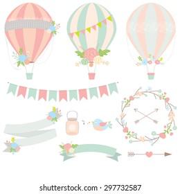 Wedding hot air balloon vector
