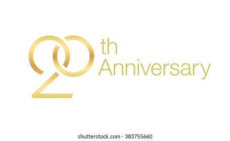 Wedding icon for 20th anniversary. Twisted wedding rings.
