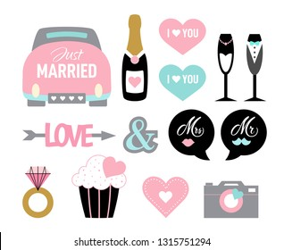Wedding icon set in cartoon style. Cute marriage symbols: vintage car, champagne, cake, ring, gift. Design for card, invitation, frame. Photo booth props pastel colors. Elements for bride and groom.