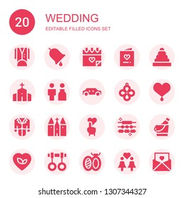 wedding icon set. Collection of 20 filled wedding icons included Tuxedo, Ring, Love, Invitation, Chapel, Bride, Limousine, Pendant, Heart, Tux, Church, Jewelry, Ice bucket