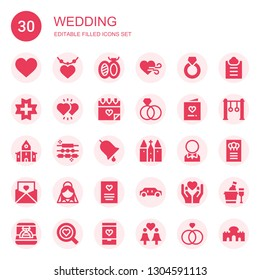 wedding icon set. Collection of 30 filled wedding icons included Heart, Pendant, Brooch, Ring, Love, Hearts, Invitation, Church, Jewelry, Groom, Bride, Greeting card, Limousine
