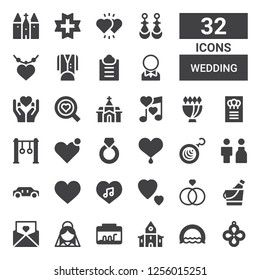 wedding icon set. Collection of 32 filled wedding icons included Pendant, Ring, Church, Terrarium, Bride, Invitation, Ice bucket, Rings, Love, Heart, Limousine, Earrings, Bouquet