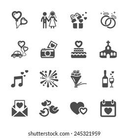 wedding icon set, vector eps10.