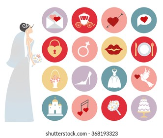 Wedding icons buttons set.Bridal shower Vector.Flat icons,sins.Flat bride in dress with bridal collection.Circle buttons with wedding day signs.Retro vector.Holiday  infographics elements