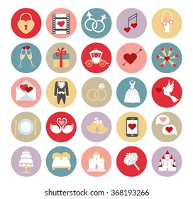 Wedding icons buttons set.Vector Flat icons,sins collection.Circle buttons with wedding day signs.Retro vector.Holiday  infographics elements