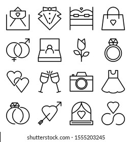 Wedding icons containing rings, invitations, suits, dresses, etc. for website or app needs in eps10 vector format