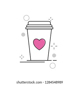 Wedding Icons Cup Love with Outline Filled Style
