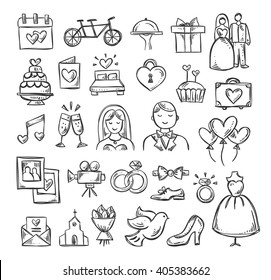 Wedding icons. Hand sketched vector wedding symbols: bride, groom, couple, love, rings, honeymoon, celebration