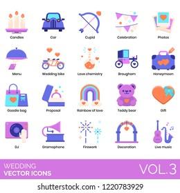 Wedding icons including candles, car, cupid, celebration, photos, menu, bike, love chemistry, brougham, honeymoon, goodie bag, proposal, rainbow, teddy bear, DJ, gramophone, fireworks, decoration.