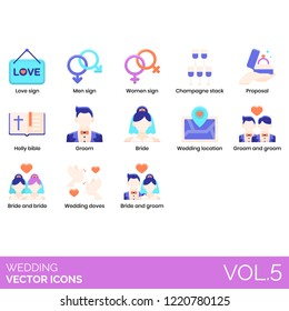 Wedding icons including love sign, men, women, champagne stack, proposal, holy bible, groom, bride, location, doves.