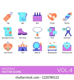 Wedding icons including tag, sign, beer, caring, petards, marriage contract, men shoes, pendant, chat, hotel keys, just married, tent, makeup, bed, thank you card.