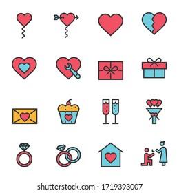 Wedding Icons Line Vector Illustration