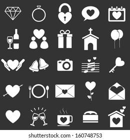 Wedding icons on black background, stock vector
