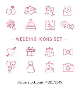 Wedding Icons. Outline Vector Wedding Icon.  Wedding Icons Set