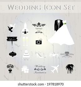 Wedding icons set.