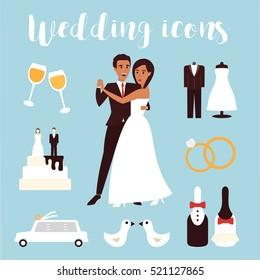 Wedding icons set. Bridal ceremony, car, dress and groom bride. Flat design vector illustration