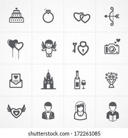 wedding icons set. bride and groom, love, celebration.