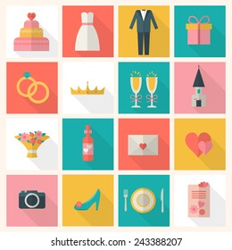 Wedding icons set. Bride, groom, present, rings, cake, love, flowers, dress and other objects. Flat style vector illustration.