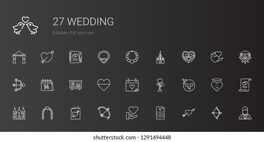 wedding icons set. Collection of wedding with cupid, wedding planning, love, bow, invitation, arch, church, in love, day. Editable and scalable icons.