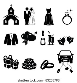 Wedding icons silhouette