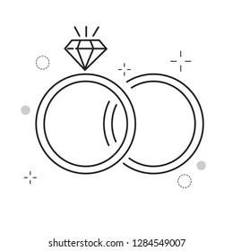 Wedding Icons two ring love with Outline Filled Style