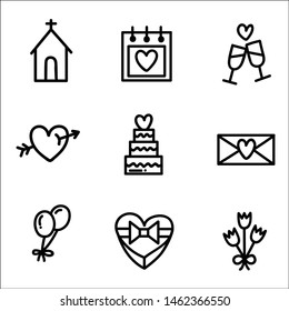Wedding icons with White Background. Vector illustration.