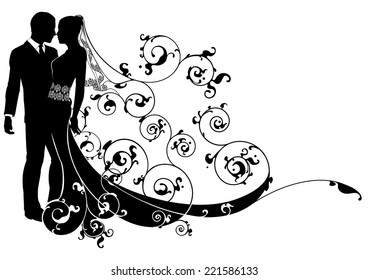 A wedding illustration of a bride and groom dancing or about to kiss