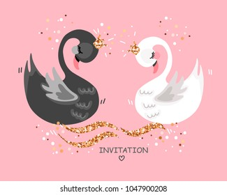Wedding illustration with swans Save the date card. Wedding invitation. Greeting card. Cartoon hand drawn vector illustration.
