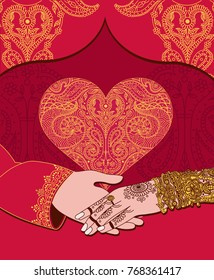 Wedding indian invitation card with golden heart. India marriage template.Beautifully decorated Indian bride hand.Close-up of groom holding brides hand.Indian bride with mehandi in hand in vector.