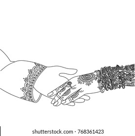 Wedding indian invitation card isolated  on white. India marriage template.Beautifully decorated Indian bride hand.Close-up of groom holding brides hand.Indian bride with mehandi in hand in vector.