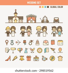 wedding infographic elements for kid including characters objects and icons